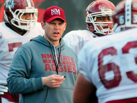 Robin Zielinski/Sun-News   First-year New Mexico State University offensive line coach Andy Richman has an experienced group to work with during spring practice.