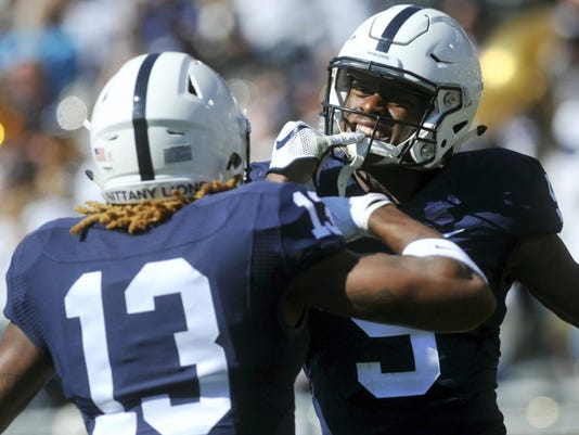 Penn State will need to hit some big pass plays — and continue to improve a sticking point — Saturday night in Columbus, like this one to DaeSean Hamilton, 5. Here, he celebrates his score against Indiana with fellow receiver Saeed Blacknall.
