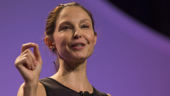 Actress and Humanitarian Ashley Judd delivers her keynote closing address at the ATHENA International Leadership Conference at the Lansing Center.