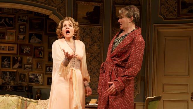 "Renee Fleming as Raquel De Angelis and Douglas Sills as Vito De Angelis in ""Living on Love."""