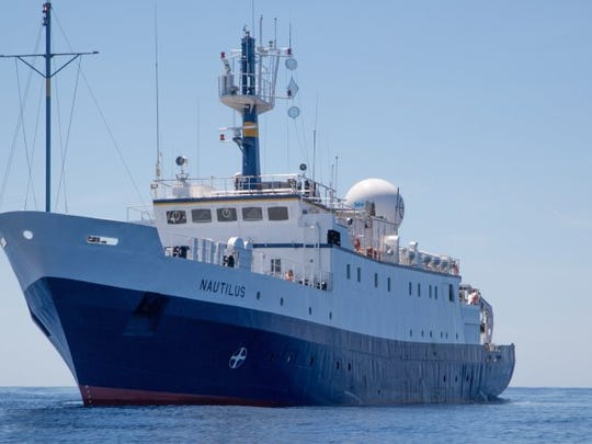 CONTRIBUTED PHOTO/Ocean Exploration Trust Melissa Baffa, development offficer with the Santa Barbara Museum of Natural History, joins the Ocean Exploration Trust for a third tour aboard the exploration vessel Nautilus.