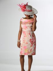 Model Margie Duvall wears a chic Kentucky Derby outfit.