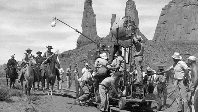 The 1939 film ?Stagecoach? showed off the dazzling landscape of Monument Valley. United Artists Behind the scenes from the 1939 John Ford western STAGECOACH.  Credit: United Artists.