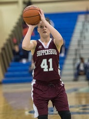Mariah Martin (41) and the Shippensburg girls basketball