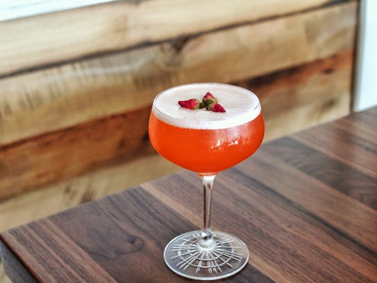 """The """"Florida 57"""" is garnished with dried rose buds"""
