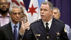 Chicago Mayor Rahm Emanuel, left, and Police Superintendent