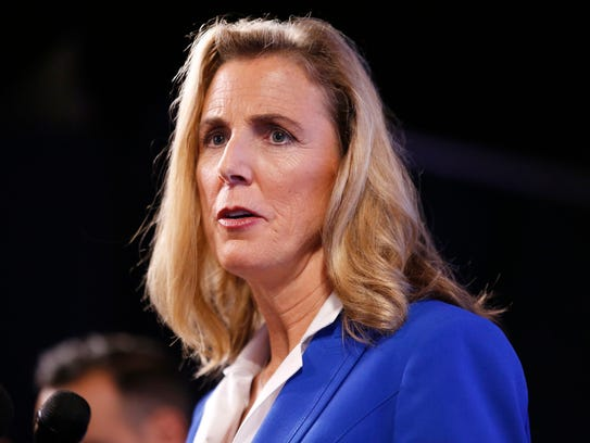 U.S. Senate candidate Democrat Katie McGinty speaks