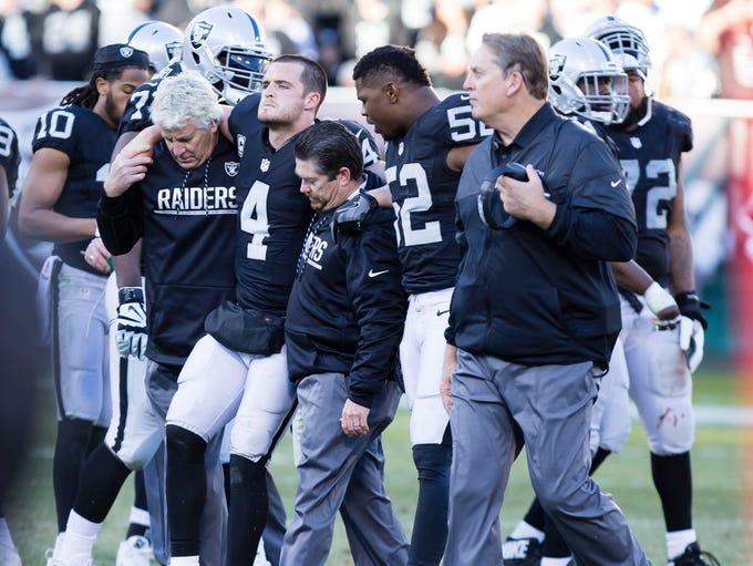 Raiders QB Derek Carr: Broken fibula, out indefinitely.
