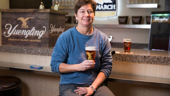 Jennifer Yuengling, one of the daughters of the beer her father owns, at a pre-launch event at Monarch Beverage, in advance of the release of Yuengling, a popular Pennsylvania-based beer that's coming into the Indiana market, Indianapolis, Tuesday, March 28, 2017.