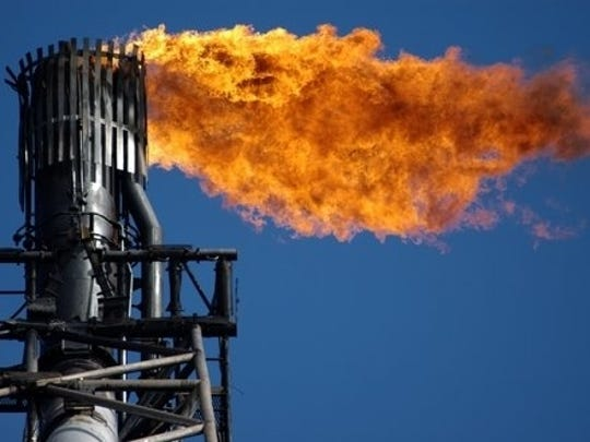 Excess methane is often burned off from oil and gas production and distribution systems.