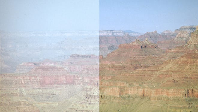 A superimposed image showing Grand Canyon on a clear day (right) and one with haze (left).