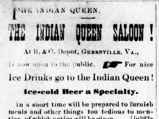 The advertisement for the Indian Queen Saloon in Greenville,
