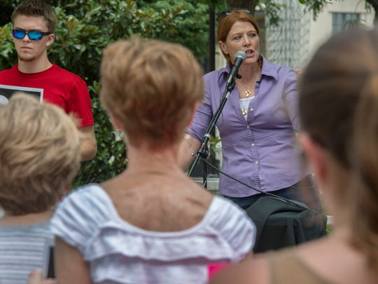 LaVern Vivio speaks to the crowd about  abortion and Planned Parenthood at Public Square Park on Tuesday.