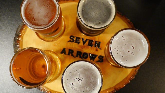 A tasting flight at the Seven Arrows Brewing Company in Waynesboro on May 19, 2016.