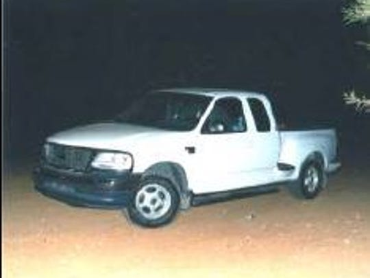 The 2000 Ford F-150 Lisa Gurrieri and Brandon Rumbaugh were in while camping Oct. 17, 2003. They were found shot to death off of Bumble Bee Road in Yavapai County.
