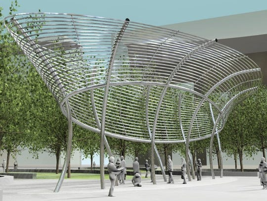 Jim Campbell's new sculpture at Cowles Commons, shown