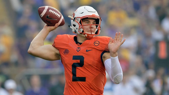 Syracuse quarterback Eric Dungey (2) throws an interception on his first throw in the first half during an NCAA college football game against LSU in Baton Rouge, La., Saturday, Sept. 23, 2017. (AP Photo/Matthew Hinton)