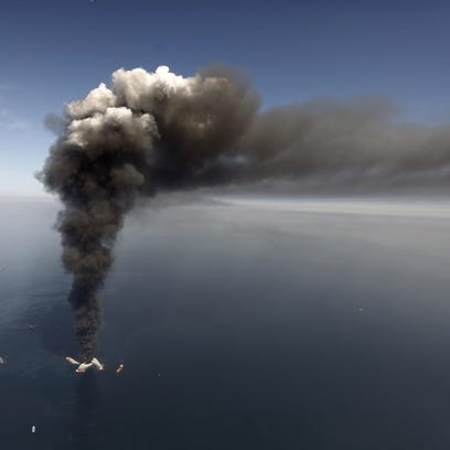 In this April 2010 file photo, oil can be seen in the