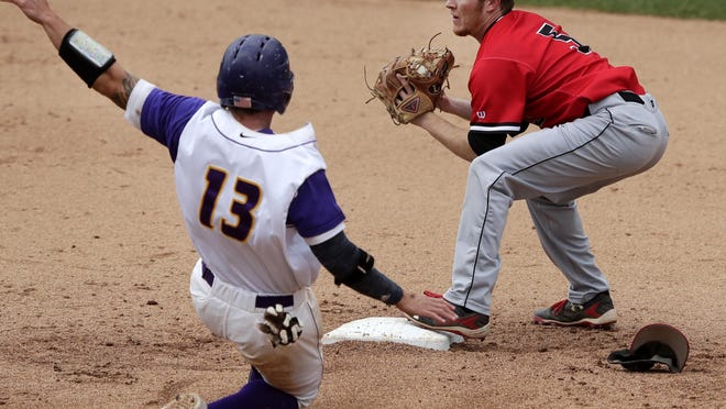 Washington Jefferson College's No. 5 Adam LaRue secures the force out of California Lutheran University's No. 13 Max Weinstein before lookig to first base for a double play in game 1 of the championship series during the NCAA 2017 Division III Baseball Championship on Monday at Neuroscience Group Field at Fox Cities Stadium in Grand Chute.