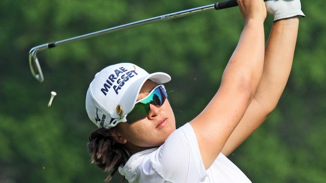 Sei Young Kim tees off on the 14th hole during the second round of the KPMG Women's PGA Championship at Westchester Country Club in Rye on Thursday. Kim finished the day in first place at eight under par.