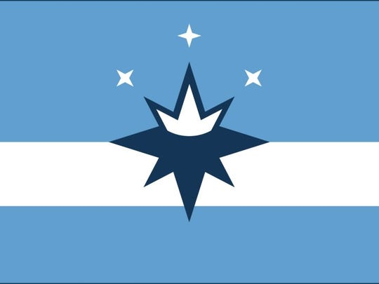 "The flag proposed in 2017 by the Springfield Flag Movement features a ""compass crown"" at its center, symbolizing the Queen City."