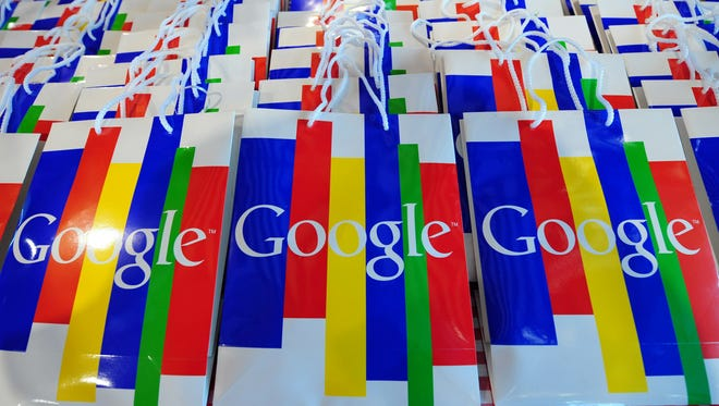 The Google logo can be seen on bags during a press conference on Nov. 18, 2010 in Hamburg, Germany.