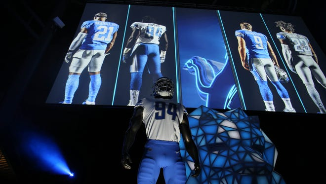Detroit Lions unveiled their new uniforms at Ford Field on Thursday, April 13, 2017.