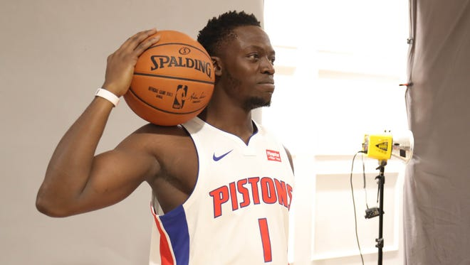 Pistons' Reggie Jackson is photographed at media day Sept. 25, 2017 at the Palace in Auburn Hills.