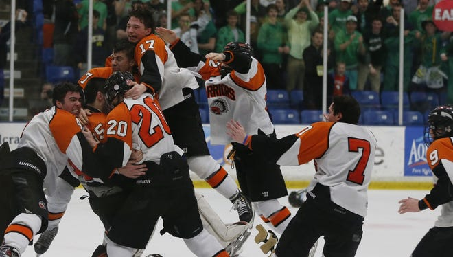 Members of the Birmingham Brother Rice hockey team celebrate after Saturday's 6-3 victory over Livonia Stevenson.