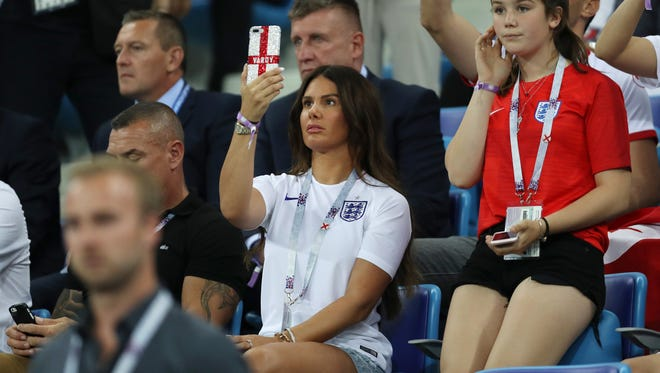 Becky Vardy, wife  of England's Jamie Vardy at the match against Tunisia.