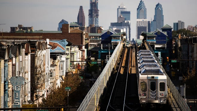 A train moves along the Market-Frankford Line in Philadelphia. Philadelphia's transit strike ended Monday.