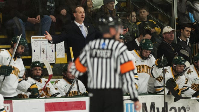Vermont head coach Kevin Sneddon argues a penalty call during the men's hockey game between the Merrimack Warriors and the Vermont Catamounts at Gutterson Field House on Friday night February 20, 2015 in Burlington, Vermont. (BRIAN JENKINS, for the Free Press)