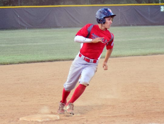 Augusta's Aric Gutt rounds third base during the fifth