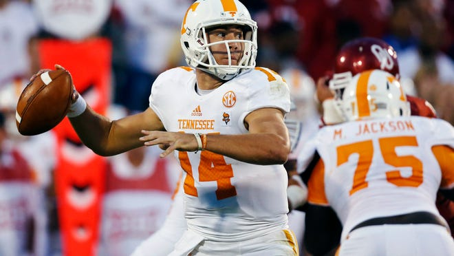 Tennessee quarterback Justin Worley was sacked five times in Saturday's loss to Oklahoma.