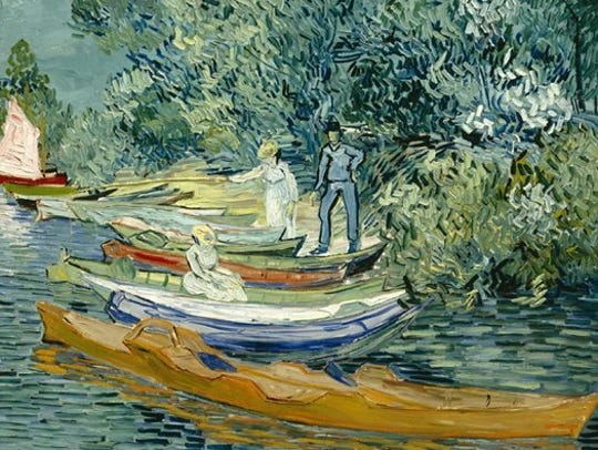 """Vincent Van Gogh, """"Bank of the Oise at Auvers."""" Oil"""