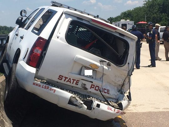A Louisiana State Police trooper's vehicle was struck