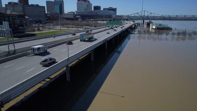 Drone captures flooding of Louisville.