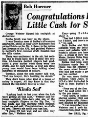 The day after Bubba Smith, Clinton Jones, George Webster and Gene Washington were selected in the first eight picks of the 1967 AFL-NFL common draft, the Lansing State Journal's Bob Hoerner wrote this column about how the four stars missed the big money by a year, when two leagues had to bid against each other.