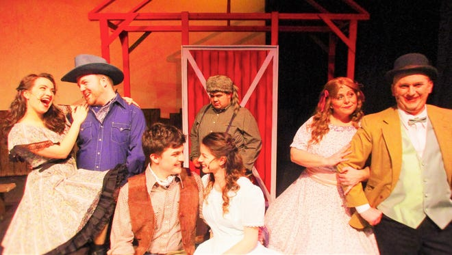 """Starring in the Endicott Performing Arts Center production of """"Oklahoma!"""" are, from left, Lyndsey Boyer (Ado Annie), Andy Shaul (Will Parker), Alexander Gill (Curly), Brianna Van Osdol (Laurey), Leander Tanner (Jud Fry), Terri-Jo Ramia (Gertie) and Conner Gates (Ali Hakim)."""