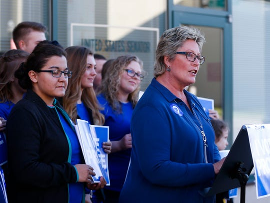 Sue Swayze Liebel, director of the Susan B. Anthony List's National Pro-life Caucus, speaks in front of a group of students from the Ozark Bible Institute and College in Neosho outside Sen. Claire McCaskill's downtown Springfield office on Wednesday, Nov. 15, 2017. (An earlier version of this caption misidentified the speaker.)
