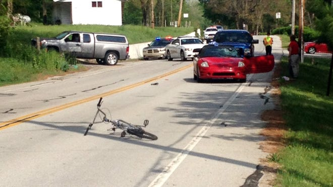 A 15-year-old cyclist was injured Monday evening when he was hit by a car on South River Road. A sheriff's deputy says the teen pulled into traffic.