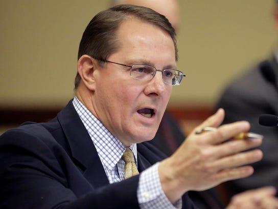 This June 18, 2014, file photo, Utah Republican state Rep. Ken Ivory speaks during a hearing at the Utah State Capitol, in Salt Lake City.