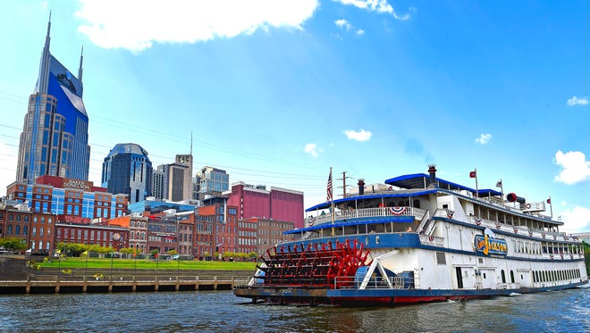 The General Jackson passes by the Nashville skyline as it moves down the Cumberland River Tuesday Sept. 6, 2016, in Nashville, Tenn.