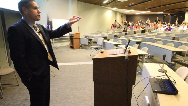 Dr. Ramon F. Cestero, associate professor at the University of Texas Health Science Center at San Antonio, speaks at the 16th Annual Rio Grande Trauma Conference on Friday at Texas Tech University Health Sciences Center El Paso.