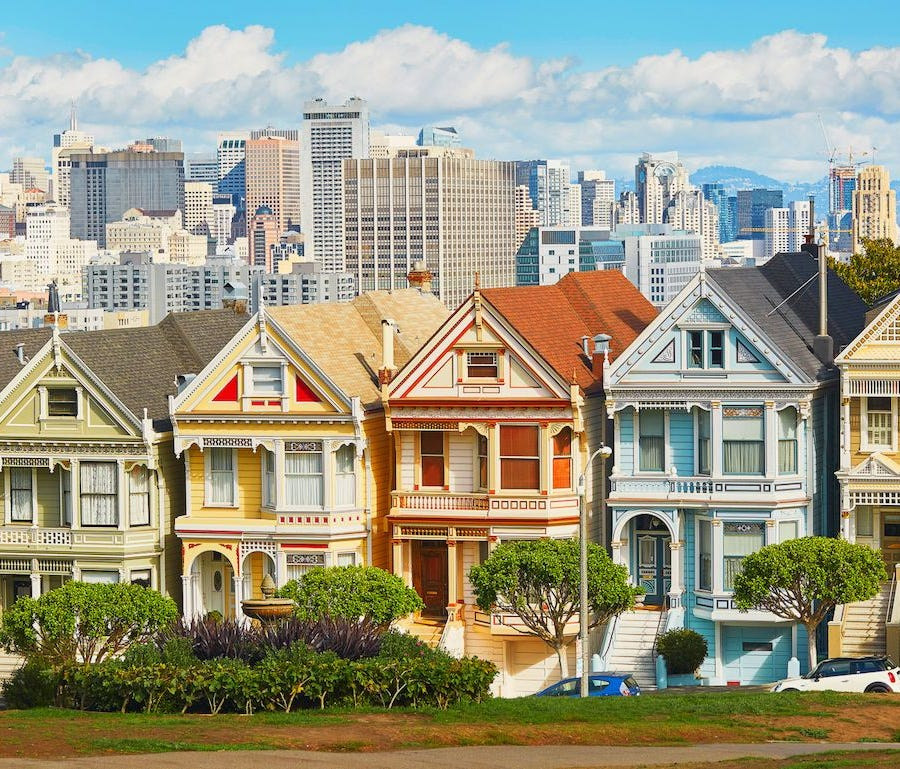 California  Most expensive housing market: San Francisco County  Median home price: $1,087,599  Median mortgage payment: $4,395  Median household income: $87,701 (State: $67,739)  Pct. homes valued $1,000,000+: 35.9%
