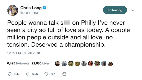 Eagles players thank Philly fans on Twitter after parade: 'I've never seen a city so full of love'
