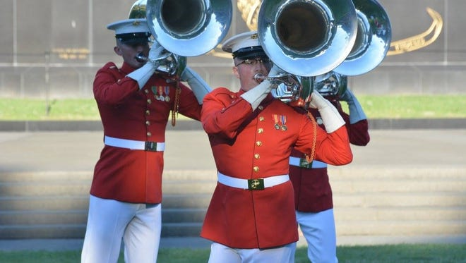 """Wylie High graduate Pierson Brannan, center, performs with """"The Commandant's Own"""" Drum and Bugle Corps. Brannan is in his third year with Washington, D.C.,-based musical unit."""
