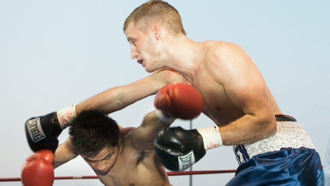 Stevie Weimer, right, defeated Melchor Guillen Jr. by majority decision in 2009 in York at PeoplesBank Park. Weimer carries an undefeated record into his Friday night fight at York College.