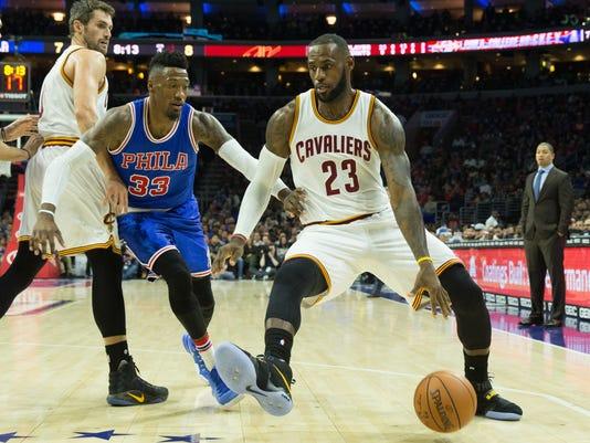 NBA  Cleveland Cavaliers at Philadelphia 76ers. Cleveland Cavaliers forward LeBron  James ... 0989e6eaa