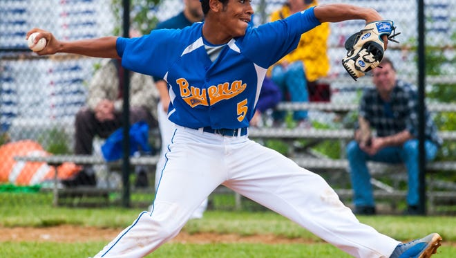 Buena pitcher Yan Sauri (5) throws a pitch against Gloucester in a playoff game last season. The right-hander is putting together another strong season for the Chiefs this year.